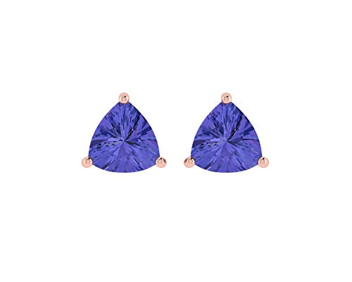 Best Post Halloween Sale (14K Rose Gold Natural Tanzanite 4X4 MM Trillion Cut Stud Earrings With Silver Silicon Post Halloween)
