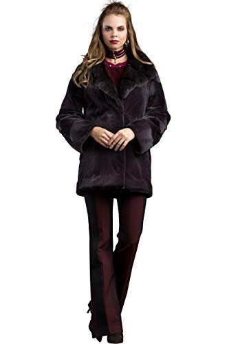 EM-EL Women's Plum Sheared and Mink Fur Jacket