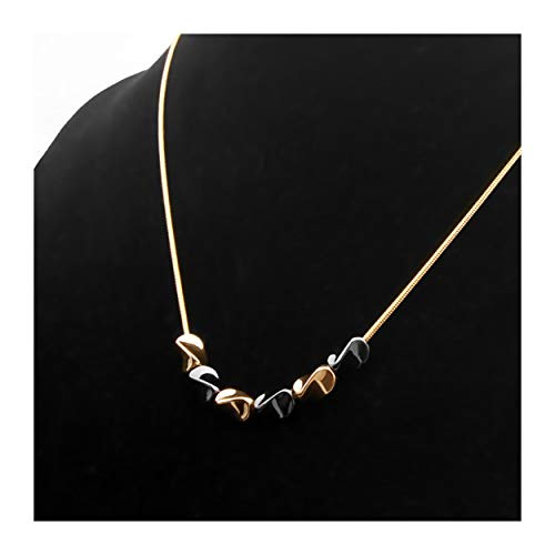 MIXIA Minimalist Snake Chain Wave Necklace Sexy Love Spring Spiral Swirl Clavicle Neckless for Women Girls Jewelry (Gold)