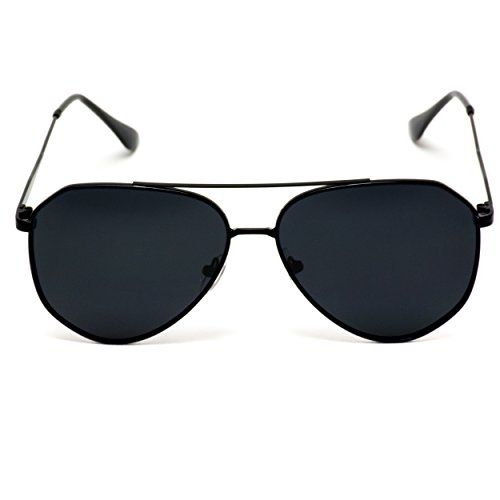 WearMe Pro - Classic Designer Inspired Medium Metal Frame Aviator Sunglasses Black