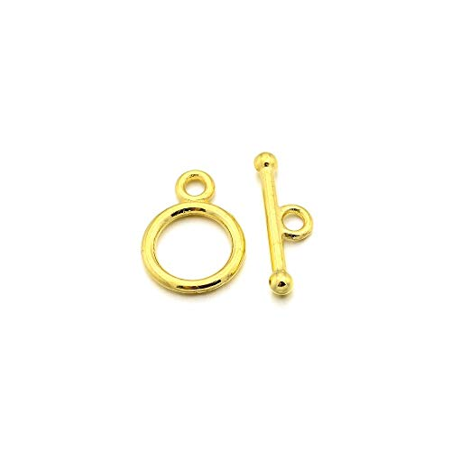Packet 30x Gold Metal Alloy Round Toggle Clasps 10x14mm Y10350 (Charming Beads) ()