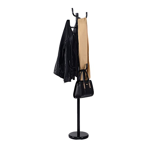 Metal Coat Rack Hat Stand Tree Hanger Umbrella Holder Hooks Black
