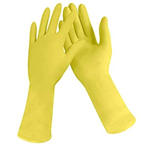 [12 Pairs] Dishwashing Gloves – 11 Inch Medium Rubber Gloves Yellow Flock Lined