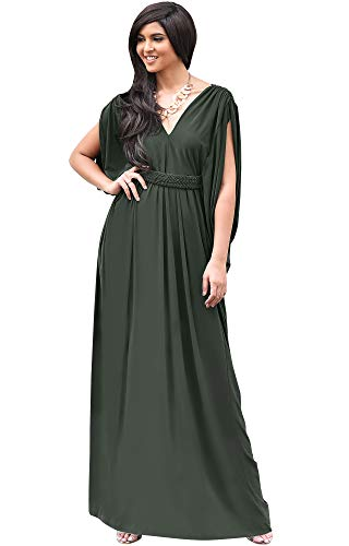 KOH KOH Womens Long V-Neck Summer Grecian Greek Bridesmaid Wedding Party Guest Flowy Formal Evening Slimming Vintage Maternity Gown Gowns Maxi Dress Dresses, Olive Green L 12-14