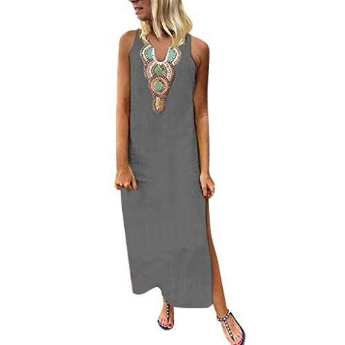 HHmei Women's Slit Maxi Dress, Baggy Cotton Linen Floral Printed Solid Loose Boho Casual Kaftan, Maternity Dresses | Night Out Dresses Summer Plus Size Sexy Sequin Orange (Gray, XL)