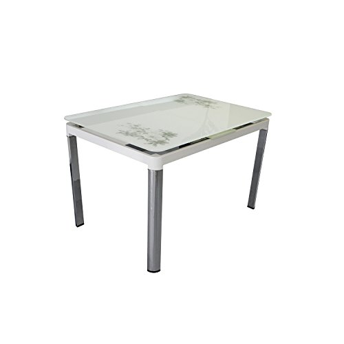 Bellona Tempered Glass Extendable Dining Table WF330tb (White)
