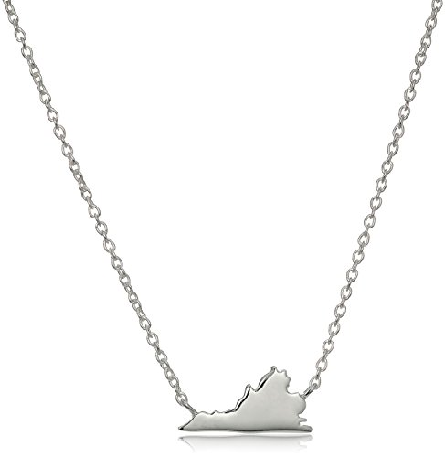 "Sterling Silver Stationed Mini State Virginia Pendant Necklace, 16""+2"" Extender"