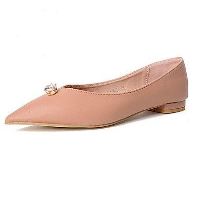 Cómodo y elegante soporte de zapatos de las mujeres pisos primavera otros PU vestido soporte de talón rhinestone negro Nude color carne