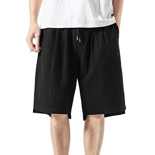 Men's Loose Straight Shorts - Men Pure Color Cotton Linen Wide Leg Beach Pants - Casual Comfy Indoor Outdoor Trousers