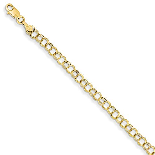 Roy Rose Jewelry 14K Yellow Gold Hollow Double Link Charm Bracelet ~ Length 8'' inches 14k Gold Double Link Charm