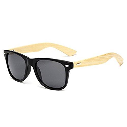 Retro Wood Sunglasses For Men Women 100% UV Protection Wayfarer Sunglasses Matte Black Frame Gray - Plastic Adjusting Eyeglass Frames