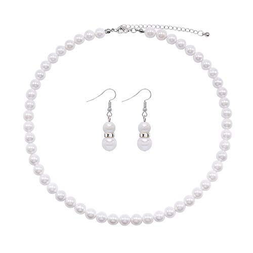 Colorose White Shell Pearl Necklace Earring Set for Women Girls Christmas 8mm Beaded Boho Statement Strand Costume Necklace