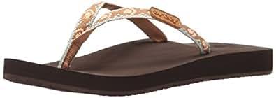Reef Women's Ginger Flip-Flop, Brown/Peach, 5 M US