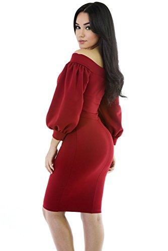 Rouge Off épaule robe de soirée robe Midi à manches bouffantes Club Parti Porter Porter Taille M UK 10–12–EU 38–40