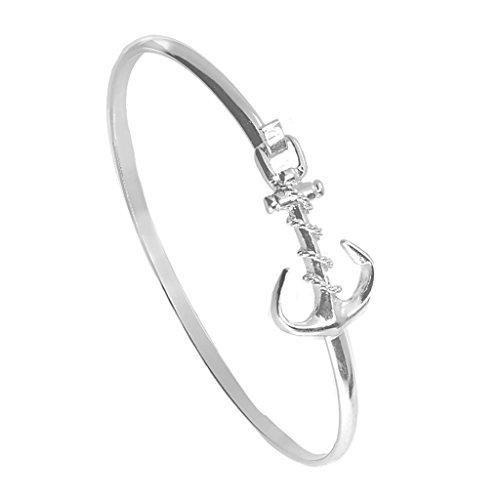 (Cape Cod Jewelry-CCJ Anchor Bracelet Latch Cuff SilverTone)