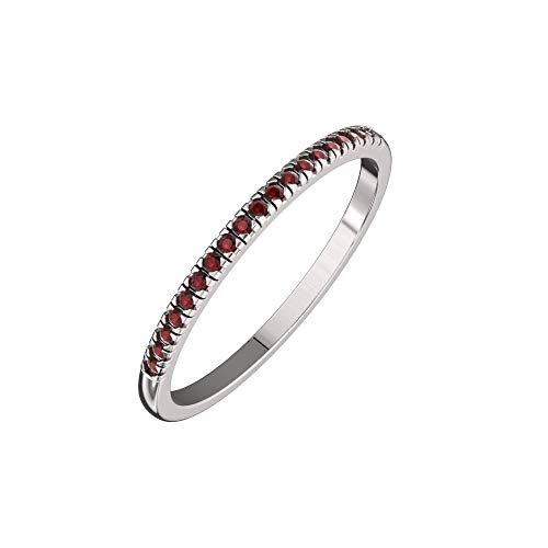 (Solid Sterling Silver Delicate & Dainty Band Ring with 21 Garnet Gemstones for Women)
