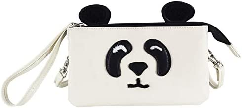 """Office Depot Brand PVC Cross-Body Mini Wristlet, 4-1/8""""H x 7-1/4""""W x 2-3/8""""D, Panda, Ivory"""