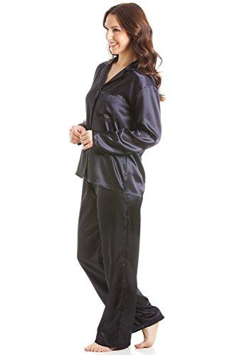 Camille - Conjunto de pijama largo - Satinado - Negro NEGRO