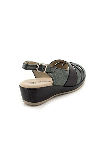 Sandalia Pitillos De Piel Negra Y Gris 1013 Negro
