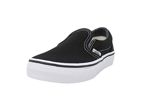 Vans Kids Classic Slip-On (Little Big Kid), Black/True White, 1 -