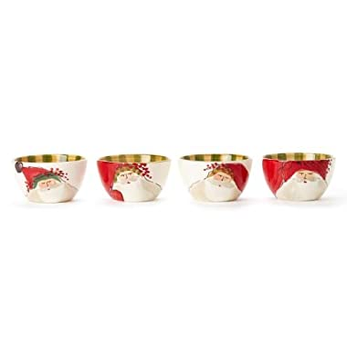 Vietri Old St. Nick Cereal Bowls, Assorted Christmas Dishes, Set of 4