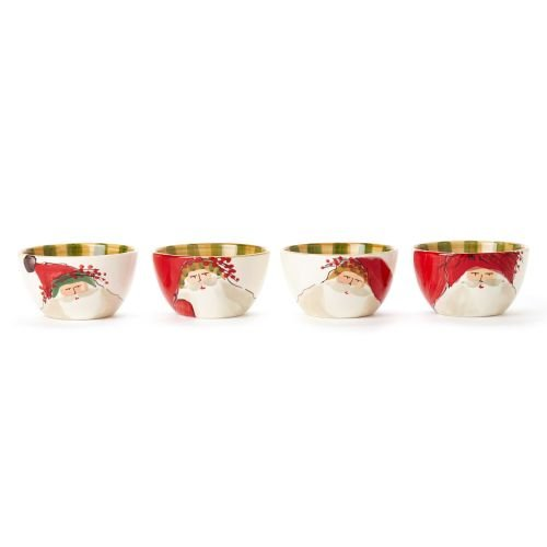 Vietri Ceramic Bowls - VIETRI Old St. Nick Small Assorted Kitchen Cereal Serving Bowls, Set of 4