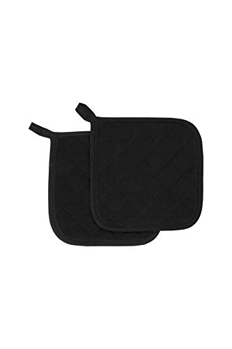 RITZ Food Service CLTPH8BE-1 Cotton Terry 450 Degree Pot Holders, 8-Inch, Black/Brown ()
