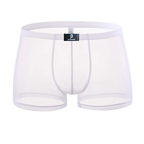 - DomiGe Sheer Mesh Boxer Trunks, Mens, White (5008) (M)