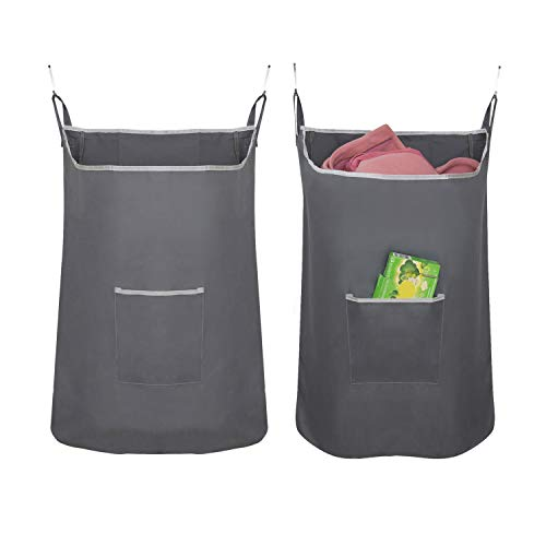 "Houseables Hanging Laundry Hamper, Dirty Clothes Bag, 20"" x 30.5"", 1 Pk, Grey, Fabric, Over The Door Cloth Basket with Hooks, for Bathroom, Storage, Space Saving, Wall, College, Closet, Behind Doors"