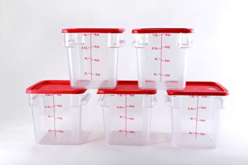Hakka 8 Qt Commercial Grade Square Food Storage Containers with Lids,Polycarbonate,Clear - Case of 5 by HAKKA FOOD PROCESSING (Image #2)