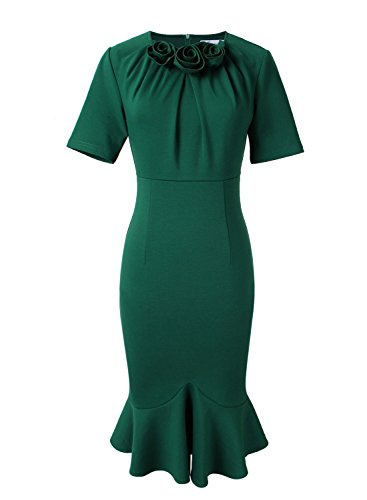 VfEmage Womens Elegant Vintage Cocktail Party Mermaid Midi Mid-Calf Dress 8923 GRN 16 by VfEmage (Image #1)