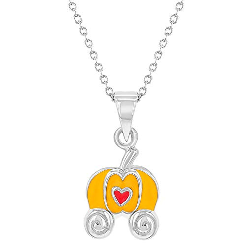 925 Sterling Silver Magic Princess Pumpkin Carriage Pendant Necklace Girl 16