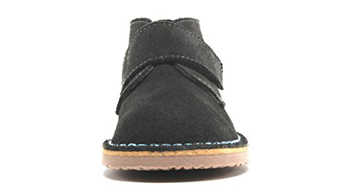 POM Shoes Madrid Mini Gray & Blue Velcro Boots with Leather Lining and Blue Accents 27 EU (8 M US Toddler) by POM Shoes (Image #4)