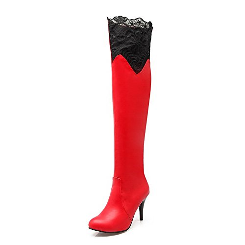 Allhqfashion Mujer Round Round Closed Top High-heels Solid Pu Botas Rojo
