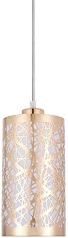 Popity home Modern Length Adjustable Hanging Dining Room Gold Linear Pendant Light, One-Light Stainless Steel Cylinder Shade Pendant Lighting Fixture with French Gold Finish
