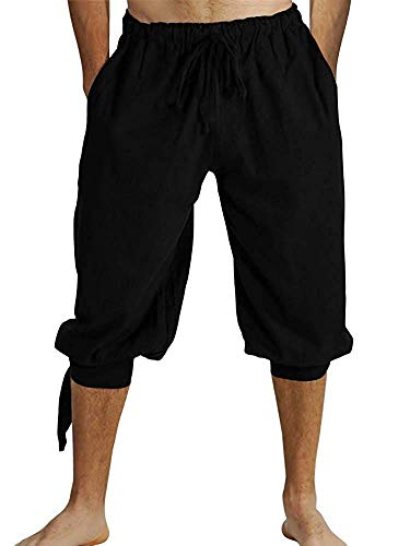 Mens Banded Shorts Lace Up Medieval Renaissance Viking Pirate Mercenary Gothic Costume Pants Cosplay Trousers Black -