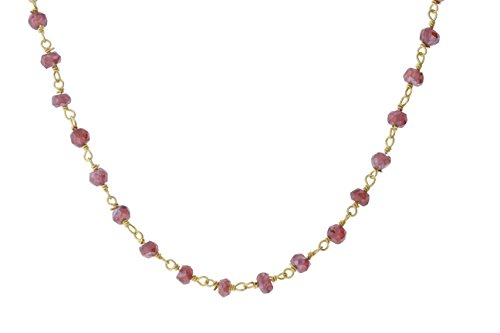 Gold-Tone Sterling Silver Wire Natural Coated Garnet Gemstone Bead Chain Stone Link Handmade Rosary Bracelet Anklet 7 -