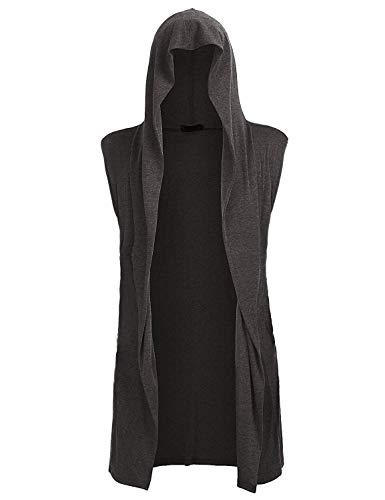 Mens Open Front Sleeveless Vest Draped Lightweight Hooded Cardigan Shawl Collar XL (Long Vest Mens)