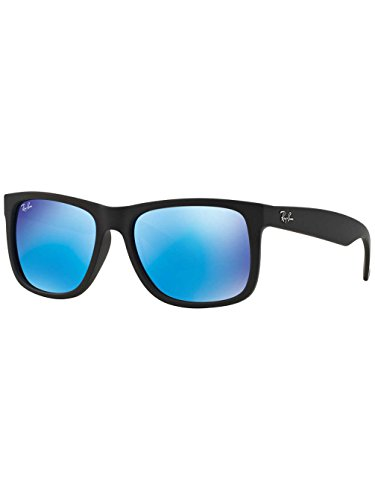 Ray-Ban Justin Color Mix RB 4165 Unisex Black Frame Blue Mirror Lens Sunglasses 54 mm 54 - Ban Justin 4165 Sunglasses Ray Rb
