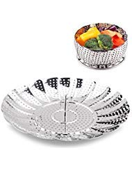 Vegetable Steamer Basket 100% Stainless Steel Folding Collapsible Basket for Various Size Pots 5.5-Inch Expands to 9-Inch by FULITY