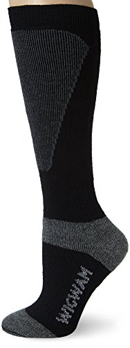 Wigwam Women's Snow Sirocco Midweight Wool Ski Sock, Black, Medium