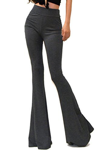 Vivicastle Women's Boho Solid Hippie Wide Leg Flared Bell Bottom Pants (Small, Ch.Gray)