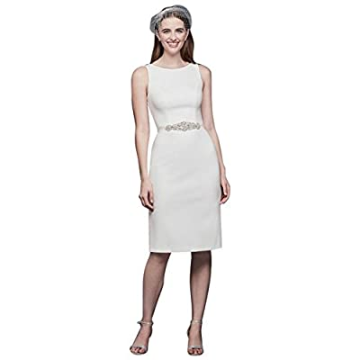 David's Bridal Short Stretch Crepe Wedding Dress Beaded Belt Style SDWG0696