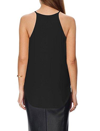 sourcingmap Mujer Tirante Fino Cuello Halter Dobladillo Asimétrico Informal Blusa Negro