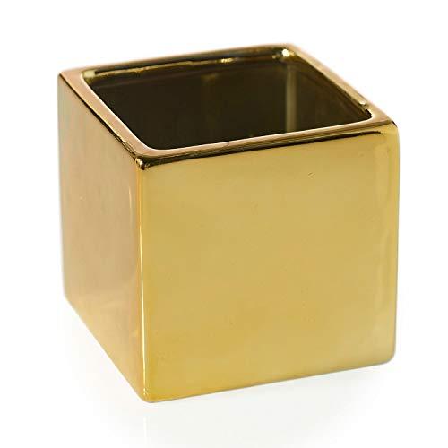 Metallic Gold Square Vase - Set of 2-3.25