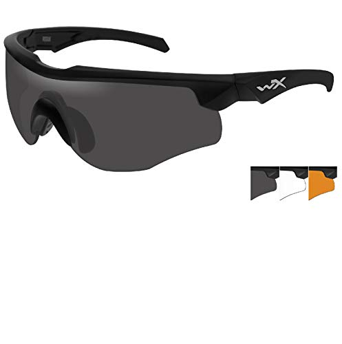 Changeable Matte Black Frame - Wiley X Rogue Smoke Gray-Clear-Light Rust Lens Matte Black