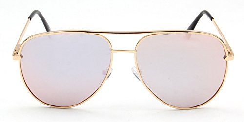 Wealthyshades straight brow aviator sunglasses for men and women-Stainless Steel frame equipped with spring hinges for max comfort and quality - Men Brow Flat Sunglasses