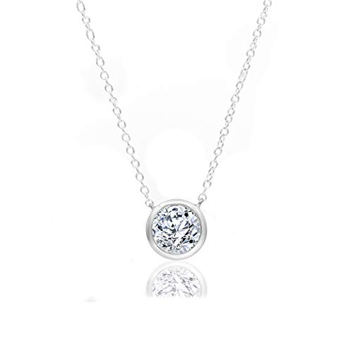 Ct 1/5 Fashion Necklace Diamond - 1/5 Carat Natural Diamond Necklace 10K White Gold (H-I Color, I2 Clarity) Halo Diamond Necklace for Women Diamond Jewelry Gifts for Women