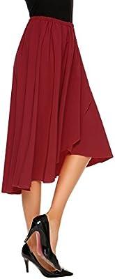 Shine Womens High Waisted A line Street Skirt Skater Pleated Full Midi Skirt