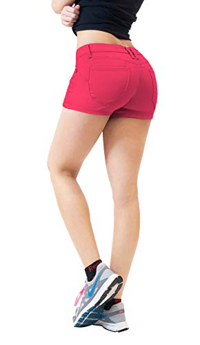HyBrid & Company Womens Butt Lifting Twill Denim Shorts-SH43308-FUCHSIA-9 ()